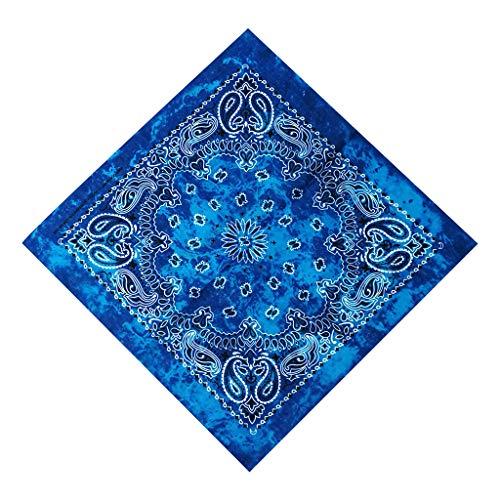 MINGSTORE Gradiente Tie-Dye Étnico Paisley Estampado Floral 50x50CM Unisex Algodón Deporte Bolsillo Cuadrado Bufanda Diadema Bandana Pulsera de Hip-Hop