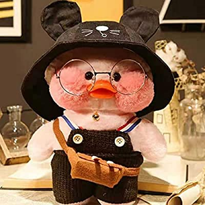 Duck Stuffed Animal Toy,Soft Plush Toy for Kids Girls, Hugglable Plush Stuffed Toy with Cute Hat and Costume, Best Gifts for Birthday 12in/30cm (Pink Black) from hongfengyongsheng