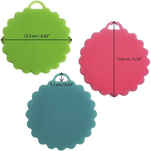 iGadgitz Home U6884 – BPA Free Silicone Sponge Multipurpose Silicone Scrubber - Brush Clean Fruits, Vegetables, Dishes, Pots & Pans, Glasses or Face & Body - 3Pcs, (Blue, Green, Red)