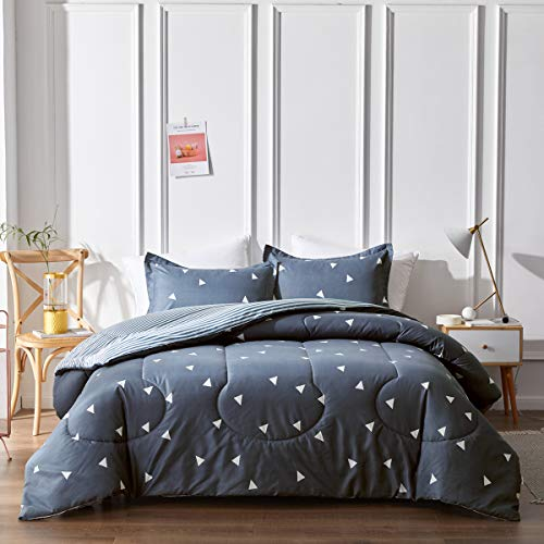 Uozzi Bedding Bed in a Bag 7 Pieces King Size, Blue Gray/White Blue Stripes - Soft Microfiber, Reversible Bed Comforter Set (1 Comforter, 2 Pillow Shams, 1 Flat Sheet, 1 Fitted Sheet, 2 Pillowcases)