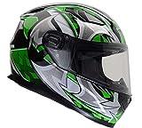 Vega Helmets 6115-204 Ultra Full Face Helmet for Men & Women (Green Shuriken Graphic, Large) 1 pack