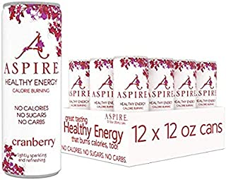 ASPIRE Healthy Energy, Calorie Burning, Zero Calorie, Zero Sugar Drink Cranberry 12-Pack