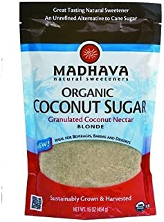 Madhava Organic Blonde Coconut Sugar, 16-Ounce (Pack of 6) ( Value Bulk Multi-pack)