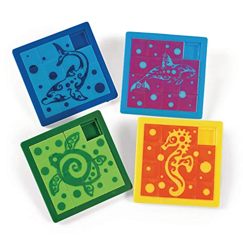 cama24com Meerestiere Schiebe-Puzzle in 4 Motiven 12 Stück als Mitgebsel für den Kindergeburtstag mit Palandi® Sticker