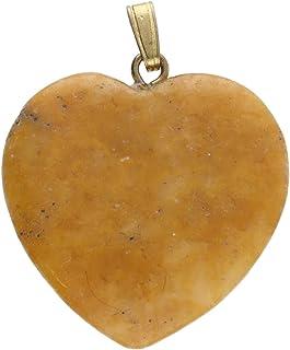1001Kristall Corazón de 25 mm con ojal dorado de jaspe amarillo.