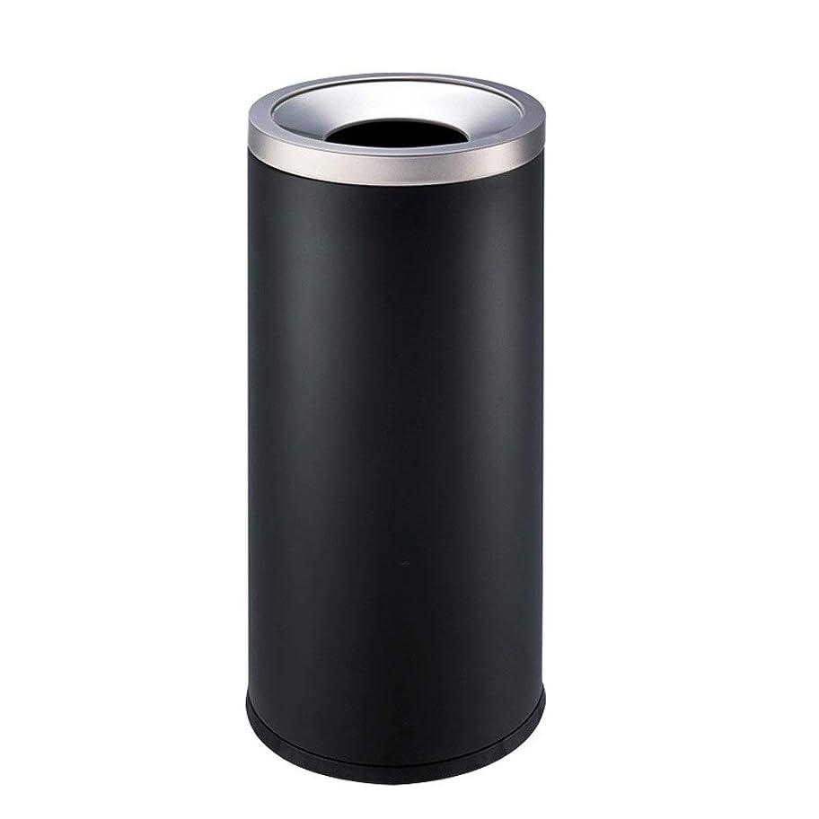 憤る邪魔隠す屋外ゴミ収納庫 屋外のゴミ箱のステンレス鋼の大容量の方法創造的な円形の貯蔵のバケツ ごみ箱 (Color : Black)