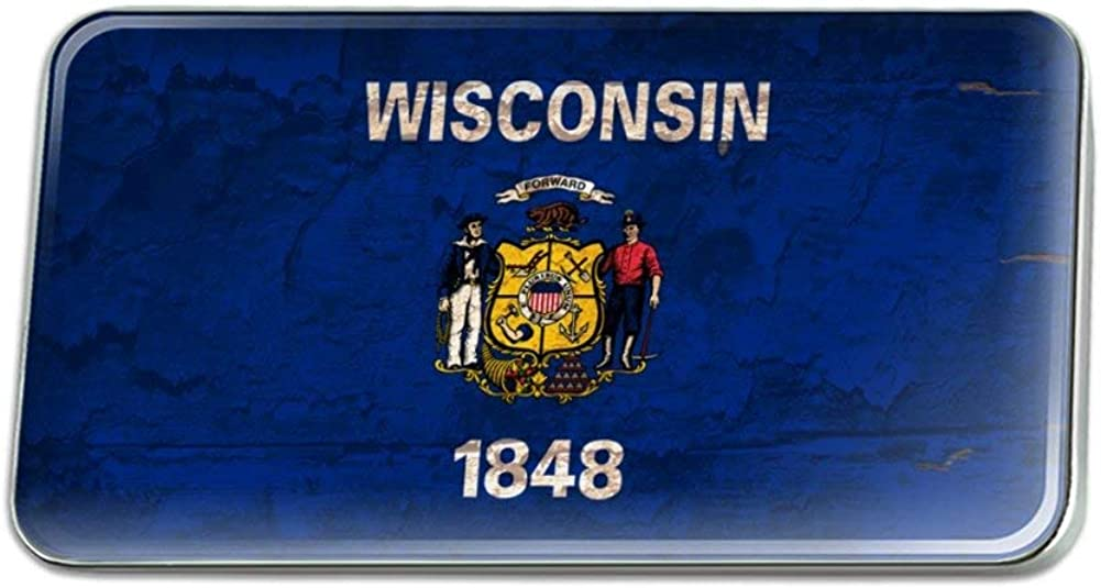 GRAPHICS & MORE Rustic Wisconsin State Flag Distressed Rectangle Lapel Pin Tie Tack