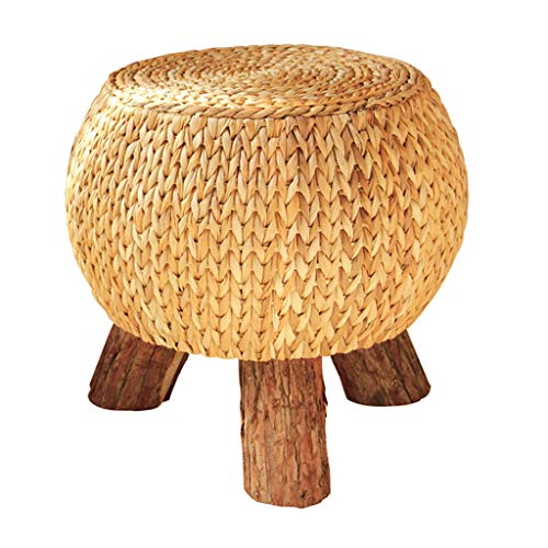 Taburete de té de Paja/Taburete de ratán Redondo, Banco de Zapatos de Madera Maciza Creativa, Taburete de sofá Creativo, Adecuado para Sala de Estar, Dormitorio, Entrada (31 × 31 × 39 cm)