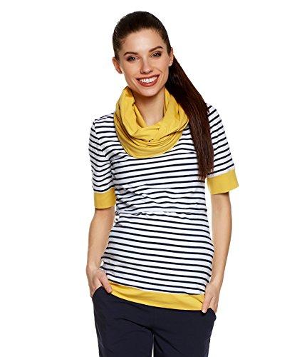 Be! Mama! Umstandsshirt mit Stillfunktion und Stillschal im Set: TEMI, Kurzarm, dunkelblau Streifen mit gelb, XL