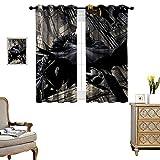 DRAGON VINES Bedroom Curtains 2 Panel Sets Comic Batman Night Vision Maxi Home Bedroom Wall Decorations Set of 2 Panels W72 x L62