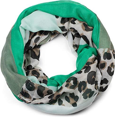 styleBREAKER Damen Loop Schal mit Leoparden Animal Print Muster und Color Blocking Farbflächen, Schlauchschal, Tuch 01016182, Farbe:Grün-Mint