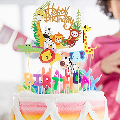 Geburtstag Tortendeko,35 Stück Tier Cake Topper + Happy Birthday Dschungel Girlande für Kinder Junge Mädchen, Toppers Cupcake für Kinder Baby Party Geburtstag Party Kuchen Dekoration Supplies