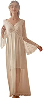 Women's Long Sleeve Vintage Nightgown Victorian Nightdress Sleepwear Loungewear ChemisesPajamas