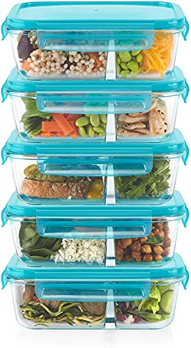Pyrex Mealbox Bento Box Divided Glass Food Storage containers, 3.4 Cup