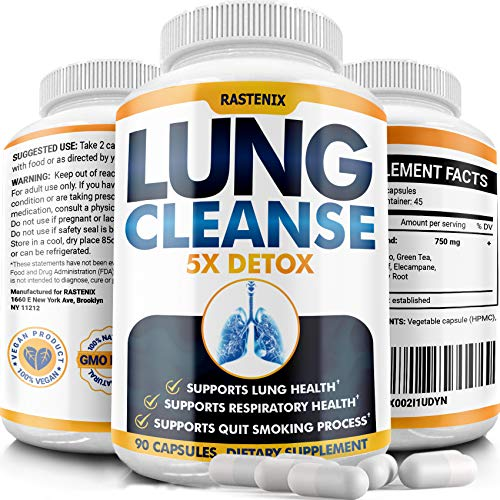 Lung Cleanse and Detox - Helps Quit Smoking - Supports Respiratory Health - Potent Lung Support Supplement - Pollution and Allergy Relief - Clear Lungs Extra Strength - Made in Usa - 90 Vegan Capsules