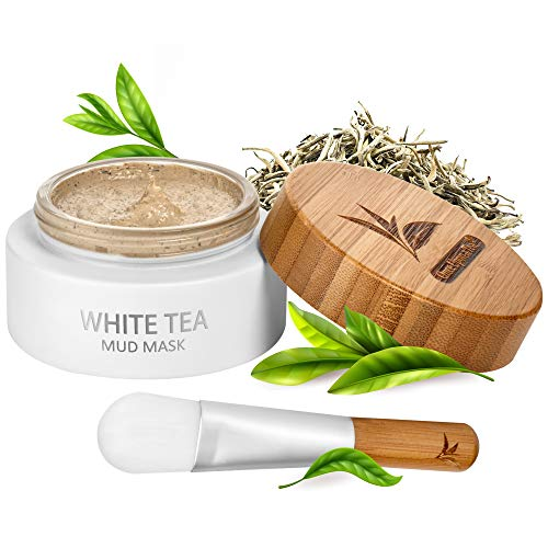 White Tea Mud Mask - 100 ml, Antioxidant Facial Treatment, Smoothes Fine Lines, Wrinkles, Deep Cleanse, Detoxifies Face, Moisturizes Skin, Blackheads Remover, Pore Minimizer, For Younger Looking Skin