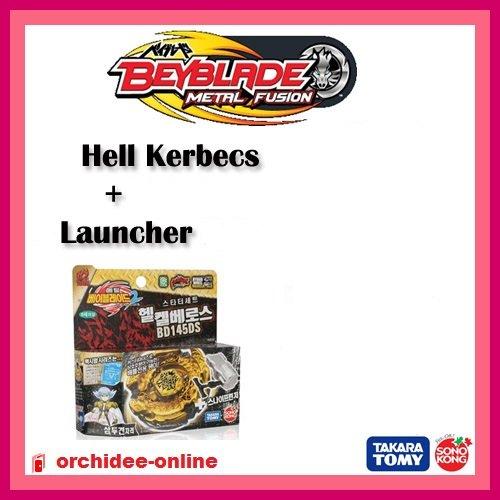 Hell Kerbecs TRES RARE - Version officielle intégrale avec lanceur - Nouvelle saison Beyblade Metal Fusion 2 (Metal Masters)