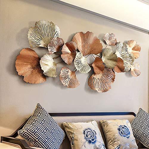 GoodWell Moderne Dreidimensionale Metall Wanddekoration, Goldene Ginkgoblätter Wanddekoration Anhänger, Hauptwohnzimmersofahintergrund-Wanddekoration,136 * 62Cm
