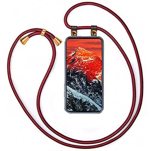 moex Handykette kompatibel mit Xiaomi Mi 9 SE Hülle mit Band Längenverstellbar, Handyhülle zum Umhängen, Silikon Hülle Transparent mit Kordel Schnur abnehmbar in Glanz Rot