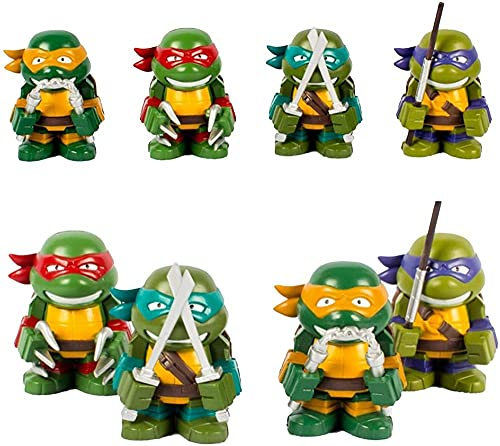 Set of 4 Pieces TMNT Action Figure Teenage Mutant Ninja Turtles Teenage Mutant Ninja Turtles Toys Ninja Turtles PVC Figures Micro-landscape Statue Character Model Toy Collection Kids Birthday 3-4In