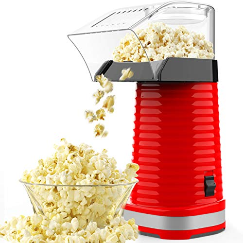 SLENPET Hot Air Popcorn Poppers with Measuring Cup and Top Lid, 1200W Electric Popcorn Maker, ETL Certified, BPA-Free, Low Fat, No Oil Needed, Fast Popcorn Machine for Home, Family, Kids (Red)