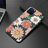 Diseñado con 13 6.1 pulgadas 5G 2021 Flores retro Chrysanthemum hojas Funda telefónica for iPhone 13 Pro Max Black Matte Cubierta de silicona Forro de microfibra suave resistente a los arañazo
