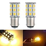 Nuokexin 1156 BA15S 27-SMD 5050 Turn Signal Reverse LED Light bulbs Car RV 1141 1003 7506 (2Pcs, Warm white)