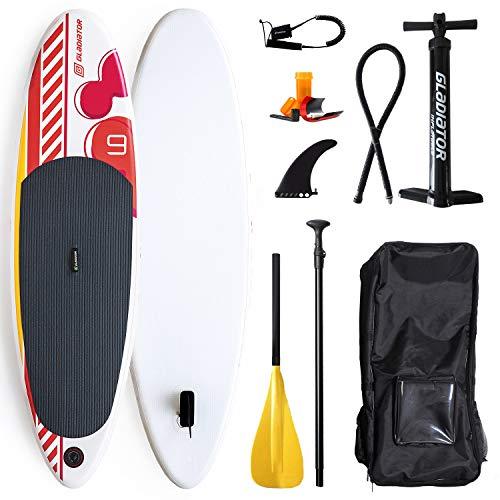 Gladiator Kids 9'0 SUP Stand Up Paddle Board für Jugendliche und Damen | Stand Up Paddelboard für Kinder | Paket inklusive Paddel, Tasche, Pumpe und Leash | 275x76x12 cm
