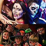 200+ Designs Halloween Tattoo Aufkleber, Halloween Zombie Scars Tattoos Aufkleber mit Fake Scab Blood Special Fx Kostüm Make-up Requisiten, Temporäre Transfer Wunde Tattoo Aufkleber, 26 Blatt - LIRNUX