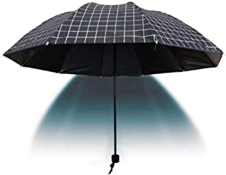 Automatic Folding Umbrella, Checkered Umbrella, Easy to Carry One-Button Open Suitable for Both Men and Women ,with Ergonomic Handle