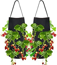 2PCS Felt Planting Pouch, Strawberry Planting Grow Bags Hanging Planting Growing Bag Vegetable Planting Bags with Holes fo...