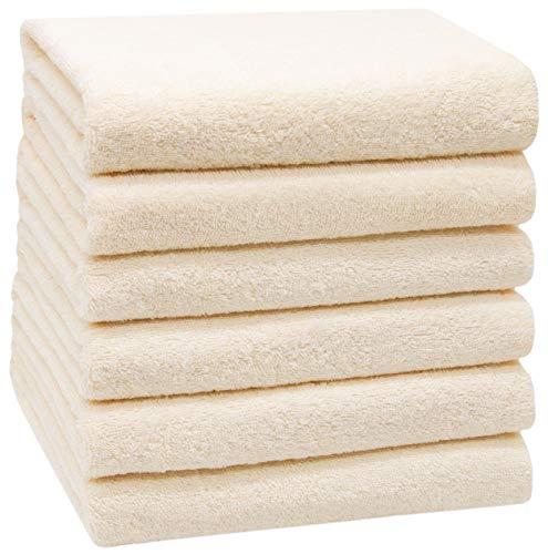 ZOLLNER 6 Asciugamani da Bagno, 100% Cotone, 50x100 cm, 400g/mq, Crema