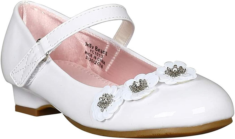 Alrisco Girls Patent/Metallic Flower Decor Mary Jane Kitten Heel Pump RC28 - White Patent (Size: Little Kid 2)