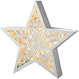 WeRChristmas Pre-Lit Hanging Star Christmas Decoration, Wood, 28.5 cm - White