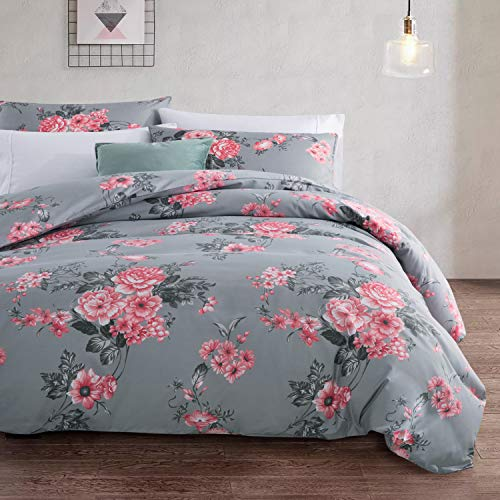 Oxford Homeware Duvet Cover Set King Size Microfiber Quilt Cover Reversible Hypoallergenic Printed Lightweight Ultra Soft Bedding Set + Pillowcases (Grey Bouquet, 230 x 220 Cm)