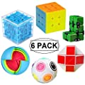 6 Pack Brain Teaser Puzzles Toy Set, Vdealen Brain Teaser Toys Bundle of 3x3x3 Speed Cube, 3D Maze Magic Box, Rainbow Ball, Wisdom Ball, Magic Snake Cube, Infinity Cube 3D Puzzle Toys for All Age from Vdealen