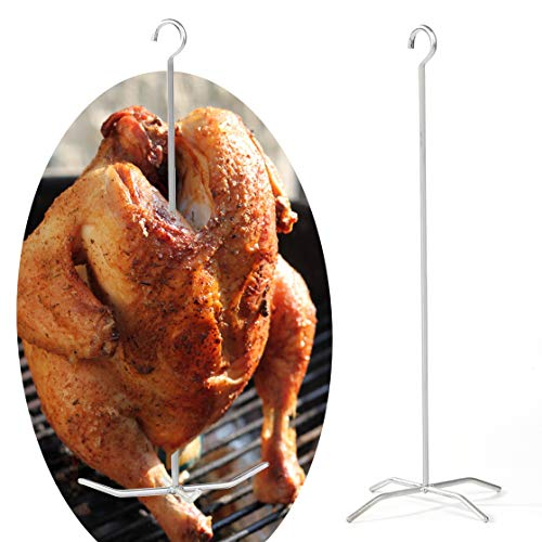 Reyhoar Upgraded Turkey Holder, Poultry Hanger, Chicken Fryer, Grill Super Skewers for Smoke, Pit Barrel Cooker Accessories, 2 Set with 2 skewers 2 Bases, Stainless Steel, Silver