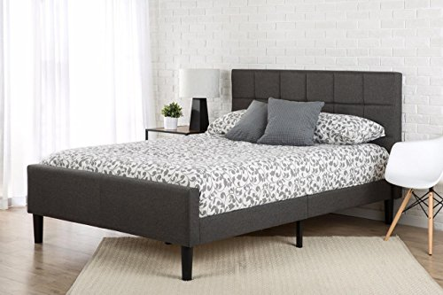 Zinus Lottie Upholstered Platform Grey Bed Frame with Footbo...