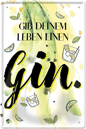 Blechschilder lustiger Alkohol Cocktail Spruch GIB DEINEM Leben EINEN Gin Deko Schild für Bar Theke oder Pub Geschenkidee 20x30 cm