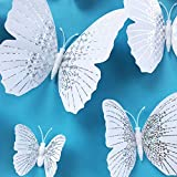 24PCS Butterfly Stickers with Sponge Gum and Magnets, White Crystal Removable Butterfly Wall Sticker Decals for Room Home Nursery Decor (White Single Wing)