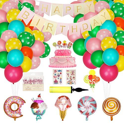 Herefun 74 Piezas Fiesta Decoración postre Globos cumpleaños Supplies pink, Birthday Party Decorations Kit Donut Helado Candyland, Girls Kids Fiesta de cumpleaños Baby Shower Globos Deco Party