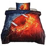 NTBED Parure de lit réversible avec housse de couette et taies d'oreiller Twin Rugby