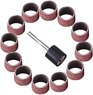 Maslin 100pcs 600 Grit Sanding Bands Drums Sleeves and 1/8inch Mandrel for Rotary Tool