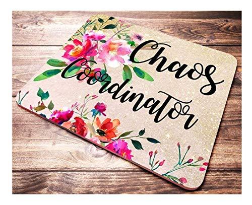 Lustiger Chaos-Koordinator Mauspad Rosa Rot Blumen Aquarell Lehrer Mousepad Büro Schreibtisch Zubehör Dekor, 9,6x8,8 inch