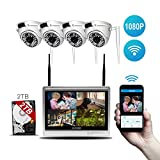 Lvreby Cámara IP inalámbrica, 2MP 1080P 12inch LCD cámara de Seguridad al Aire Libre Sistema WiFi Video vigilancia Kit Home CCTV Set NVR-Tarjeta de 2 TB TF,4CH