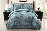 VCNY Leaf 8-Piece Bed-In-Bag Set, King, Blue/Chocolate