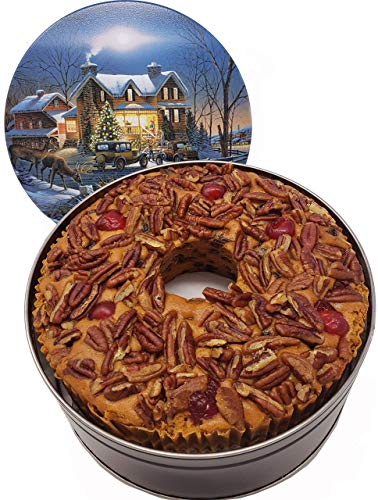 Jane Parker Classic Light Fruit Cake 48 ounce (3 Lbs.) Fruitcake Ring in a Collectible Decorative Holiday Tin