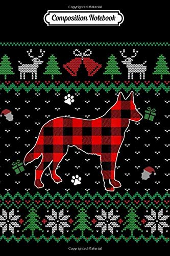 Composition Notebook: Red Plaid German Shepherd Dog Ugly Christmas Sweater Gifts  Journal/Notebook Blank Lined Ruled 6x9 100 Pages