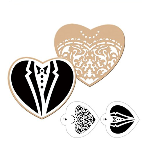 VALINK Plantillas para galletas con forma de novio de novia, cortador de galletas, molde de azúcar para decoración de bodas, suministros para hornear