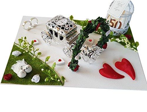 Der-kleine-Dekoladen Geldgeschenk Hochzeit Flitterwochen Kutsche Rosengarten Tauben Geld verschenken Brautpaar